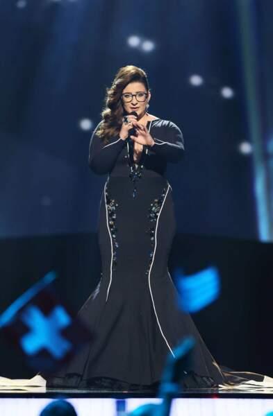 Moran Mazor, la chanteuse d'Israël, avait opté pour une robe qui ne mettait pas en valeur sa morphologie...