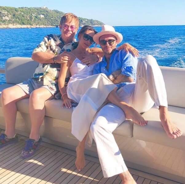 David et Victoria Beckham ont passé de chouettes vacances avec Elton John.