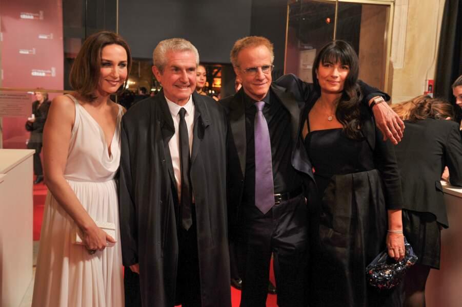 Claude Lelouch, entouré notamment de deux des acteurs de Un+Une, Elsa Zilberstein et Christophe Lambert