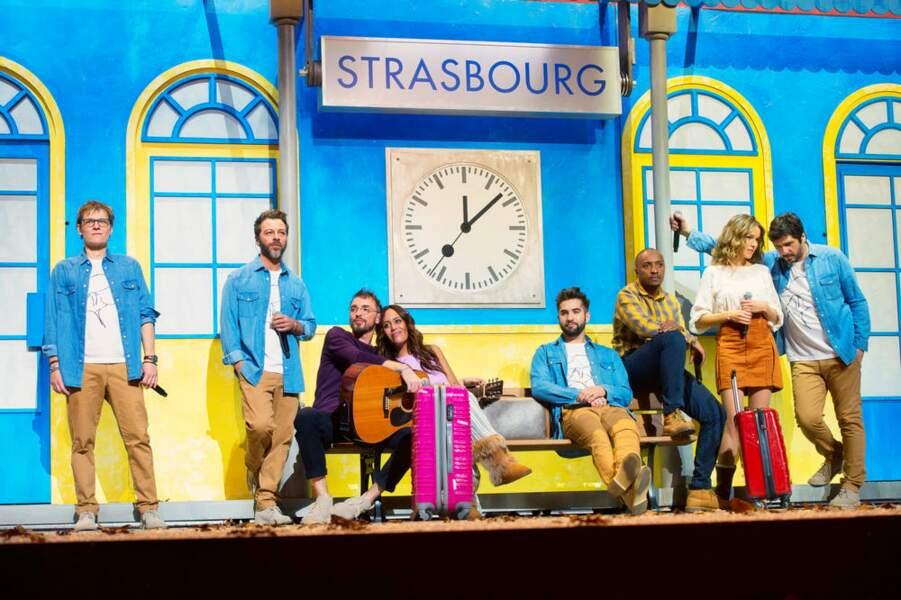 Tableau coloré pour les voyageurs des Enfoirés ici en gare de Strasbourg, lieu des concerts