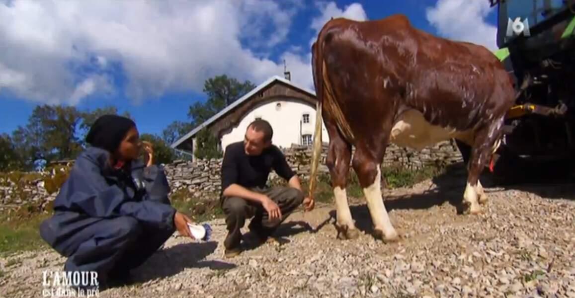 L'animatrice est attentive... Il faut dire que c'est elle qui va laver la vache !