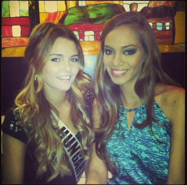 Notre belle Miss et Miss Hongrie. L'amitié passe avant la compétition pour Hinarani de Longeaux