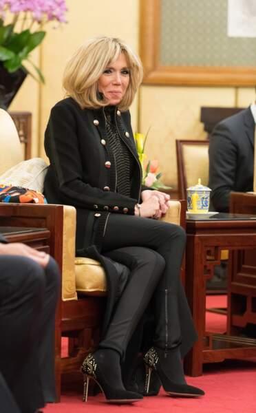 A cette occasion, l'épouse du chef de l'Etat avait opté pour une tenue toute noire, très chic en pantalon