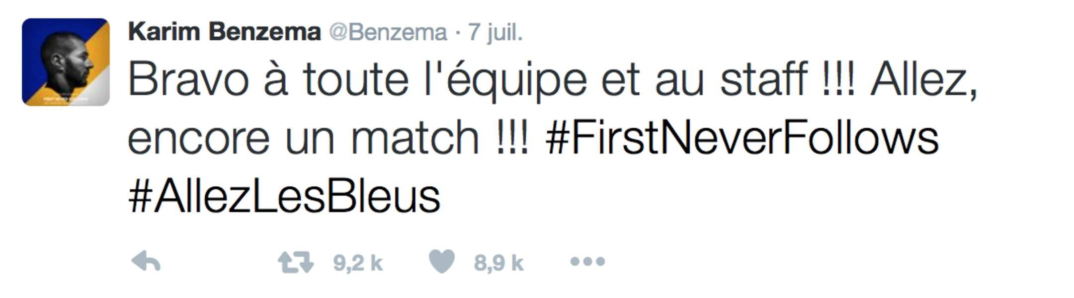 Quelle que soit sa prochaine destination, Karim Benzema n'a pas oublié d'adresser un message de soutien aux Bleus
