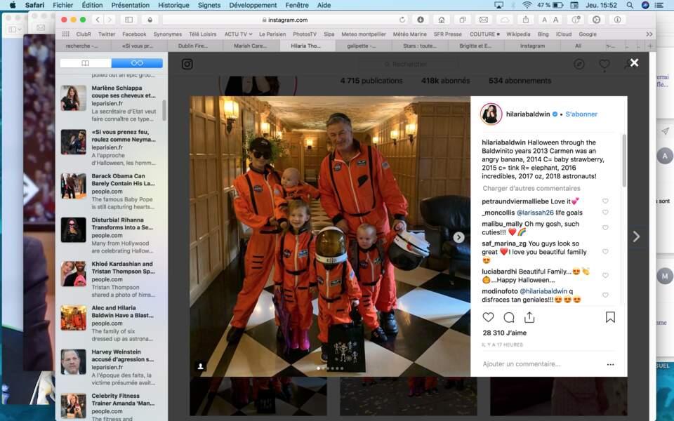 …C'est ensemble, déguisés en astronautes, qu'Alec et Hilaria Baldwin et leurs enfants ont célébré l'événement