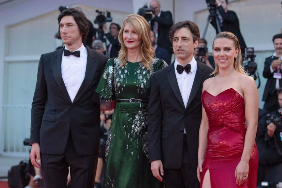 Adam Driver, Laura Dern, Noah Baumbach et Scarlett Johansson pour le film Marriage Story