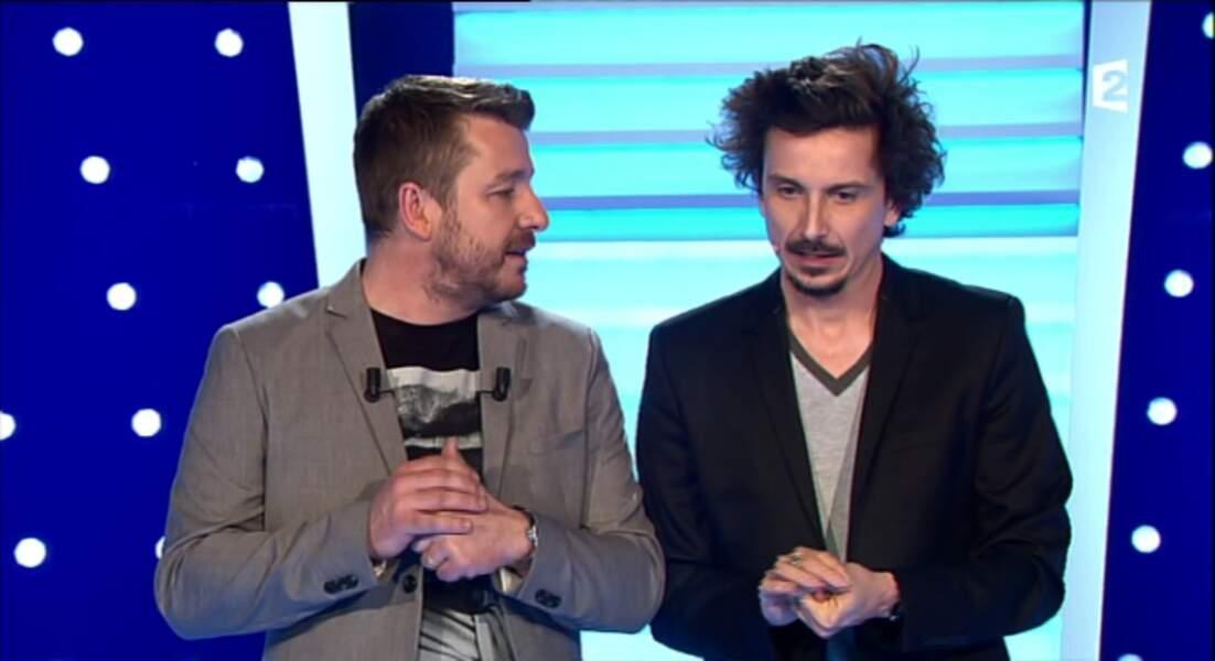 """Dans la catégorie """"complémentaires"""" : Arnaud Tsamère et Bruno Guillon, en gris et noir"""