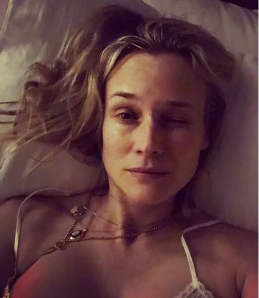 Diane Kruger vient à peine de se réveiller...