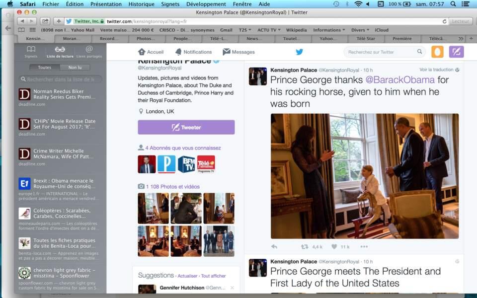Le petit prince a montré à Barack Obama qu'il appréciait le cheval de bois que le président lui a offert