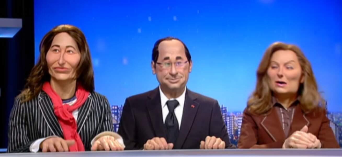 """""""Gneeee"""" : François Hollande, aux côtés de ses deux anciennes compagnes, Ségolène Royal et Valérie Trierweiler."""