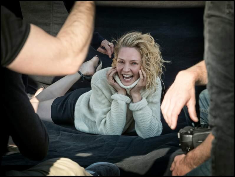 Uma Thurman s'est visiblement beaucoup amusée sur le shooting photo