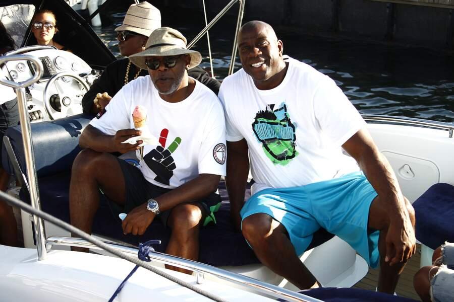 Pendant ce temps, Magic Johnson et Samuel L. Jackson posaient à Saint-Tropez.