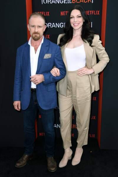Très chic dans son tailleur au côté de son mari Ben Foster