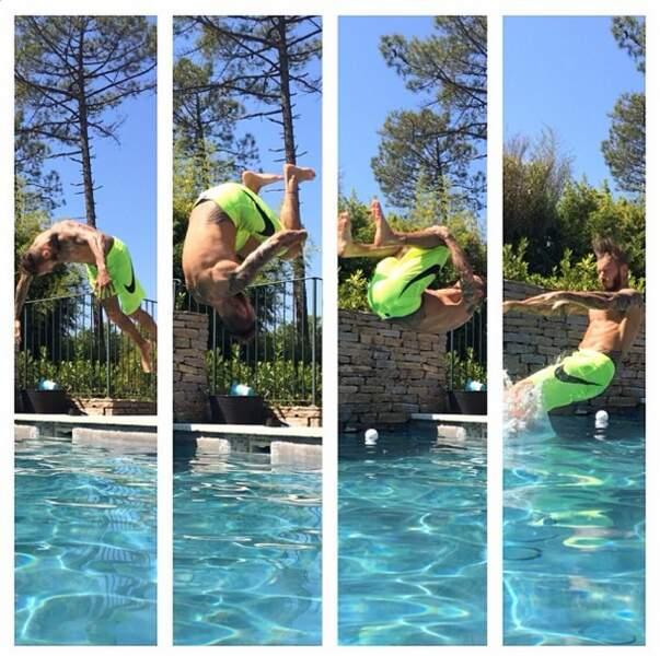 Et on termine avec le plus puéril de la bande : M. Pokora qui fait plouf dans sa piscine !
