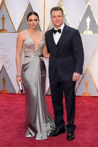Matt Damon, venu en tant que producteur de Manchester by the sea, avec sa compagne Luciana Barroso
