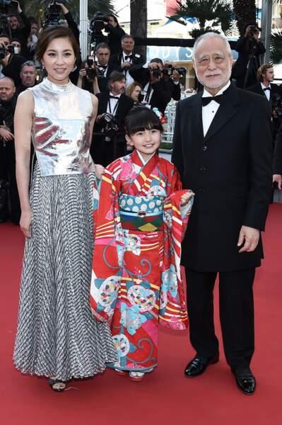 Masahiko Tsugawa, Asaka Seto et Rio Suzuki lors de la montée des marches pour Le Petit Prince