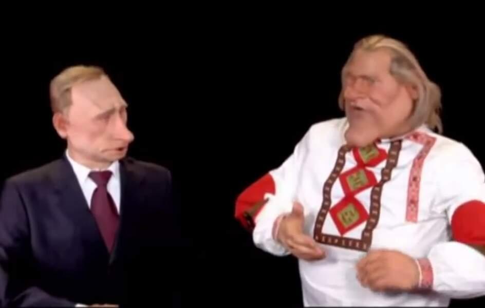 "Gérard Depardieu et son ""ami"" Vladimir Poutine."