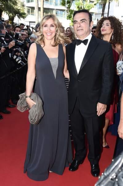 Rita Ghosn et Carlos Ghosn lors de la montée des marches pour Le Petit Prince au Festival de Cannes 2015