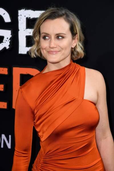 L'actrice a fait un joli clin d'oeil au show dans sa magnifique robe orange