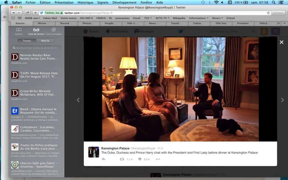 Avant de passer à table, le prince Harry et Kate Middleton ont discuté avec Michelle Obama…