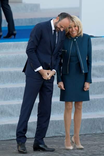 La femme du président s'est aussi montrée très câline avec le Premier ministre Edouard Philippe