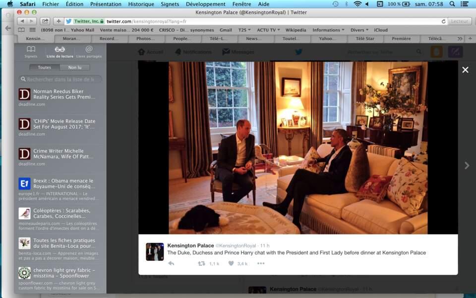 … tandis que le prince William devisait avec le président des Etats-Unis