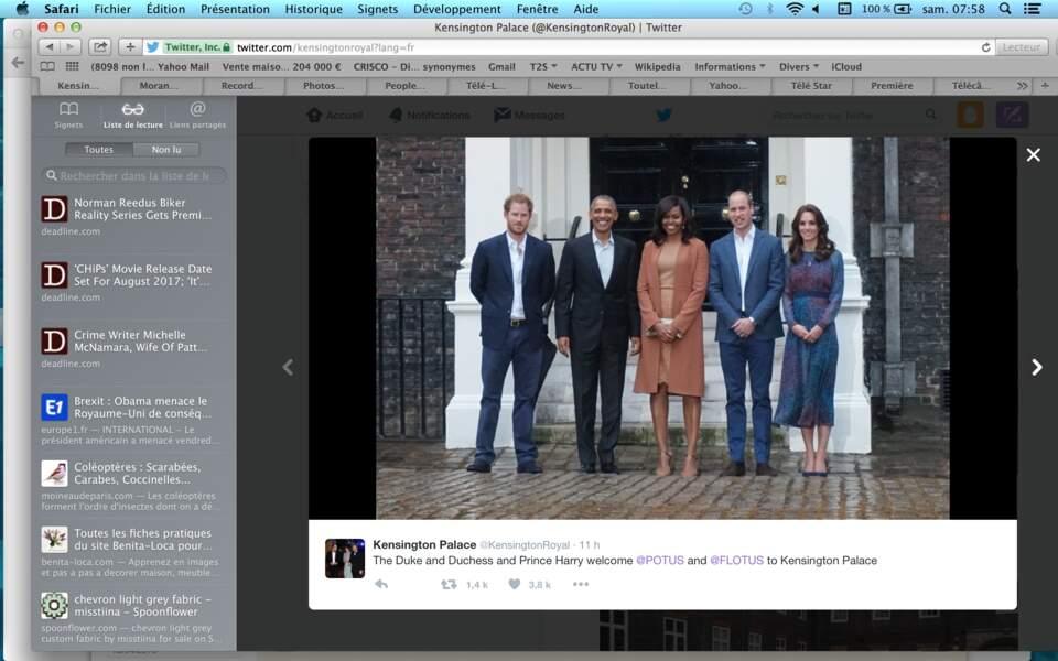 La photo officielle de la rencontre entre le couple Obama et la famille royale