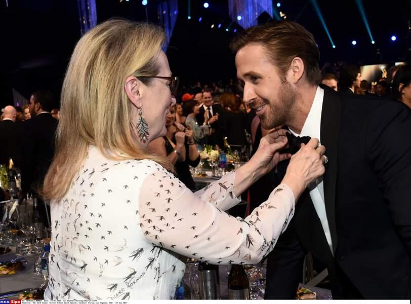 Son partenaire, Ryan Gosling repart lui les mains vides mais Meryl Streep s'occupe bien de lui