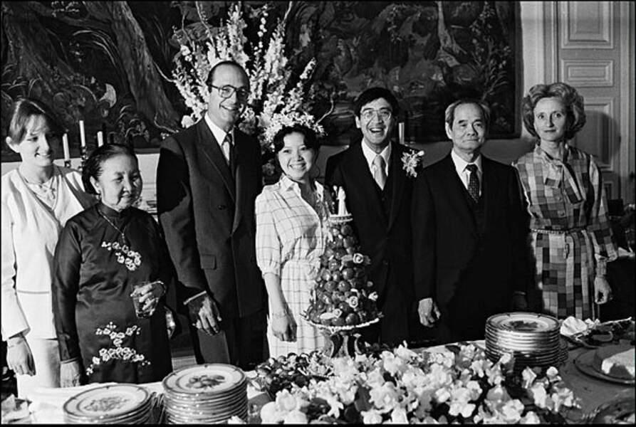 Jacques Chirac au mariage de sa fille Anh Dao Duong, à Paris, le 27 juin 1981.