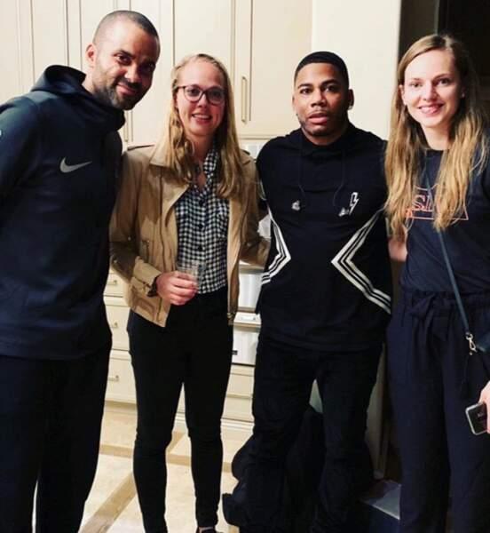 Tony Parker, Julie Allemand, le rappeur Nelly et Marine Johannès tout sourire