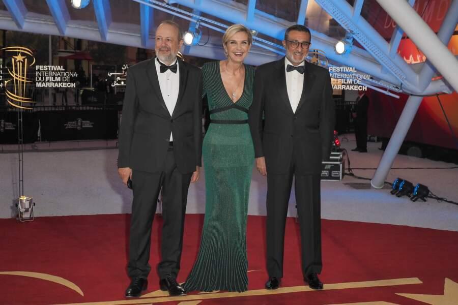 L'ex-directrice du festival Mélita Toscan du Plantier, entourée des vice-présidents Fayçal Laâraïchi et Sarim Fassi-Fihri
