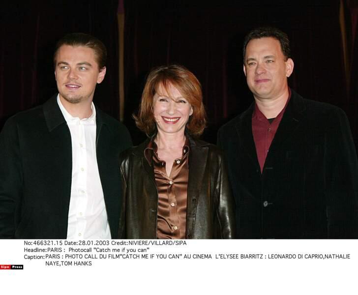 En 2002 à Paris avec Tom Hanks et Leonardo DiCaprio pour Arrête-moi si tu peux (de Steven Spielberg)
