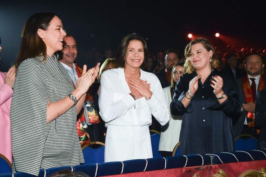 Pauline Ducruet, la princesse Stéphanie et Camille Gottlieb au 44e Festival du cirque de Monaco samedi 18 janvier 2020