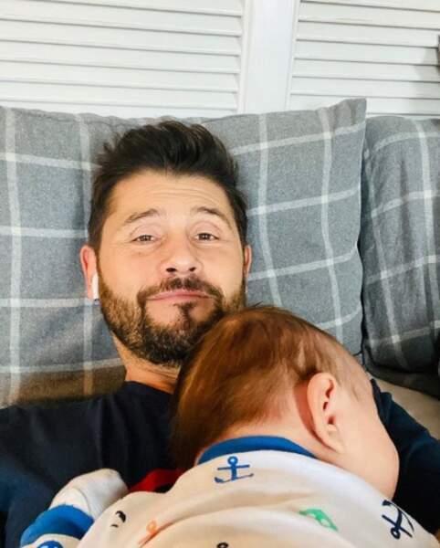 C'était l'heure de la sieste pour Christophe Beaugrand et Valentin.