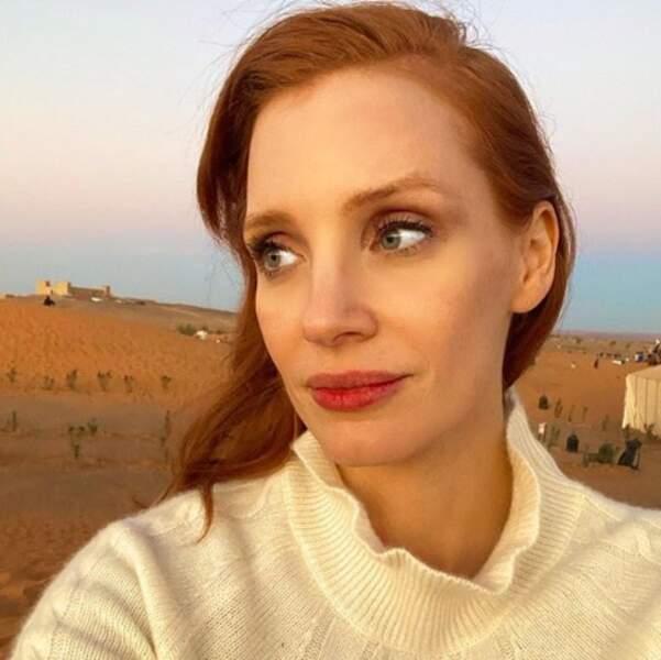 Et Jessica Chastain a fait ce selfie dans le désert du Sahara.