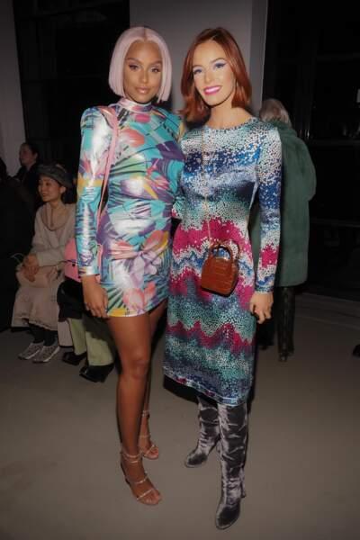 Alicia Aylies and Maëva Coucke se sont retrouvées au défilé Leonard pendant la Fashion Week le 27 février 2020