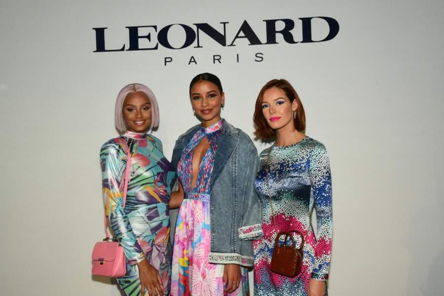 Alicia Aylies, Flora Coquerel et Maëva Coucke au défilé Leonard pendant la Fashion Week le 27 février 2020