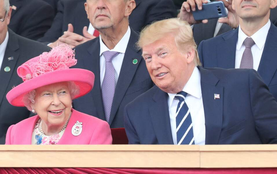 """Elisabeth II et Donald Trump pendant les commémorations du 75 ième anniversaire du """"D-DAY3 en juin 2019"""