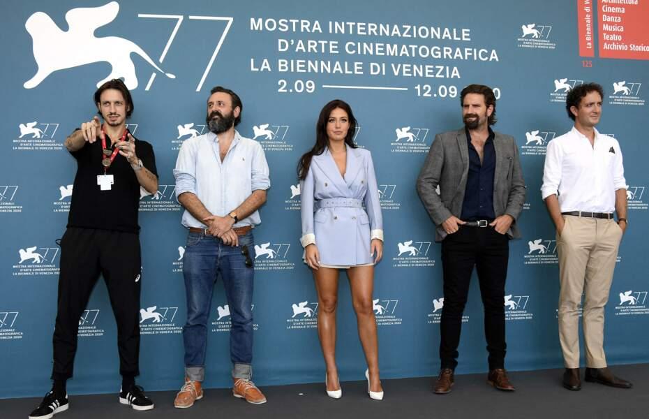 Elvis Romeo, Quentin Dupieux, Adèle Exarchopoulos, Grégoire Ludig et David Marsais, lors du photocall de Mandibules