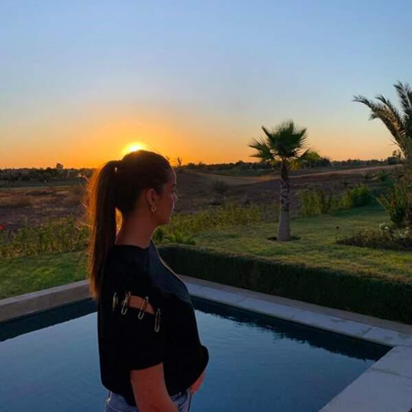 Photo devant le coucher de soleil