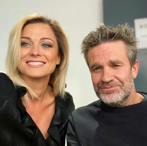 La consultante et l'animateur du CFC, Hervé Mathoux, avant une émission