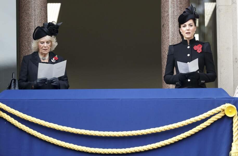 Kate Middleton et Camilla lors du Remembrance Sunday Service à Londres le 8 novembre 2020