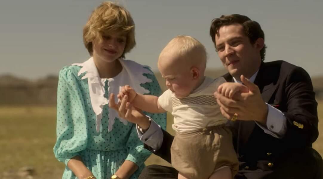 Un joli portrait de famille reproduit avec une ressemblance frappante par Emma Corrin et Josh O'Connor.