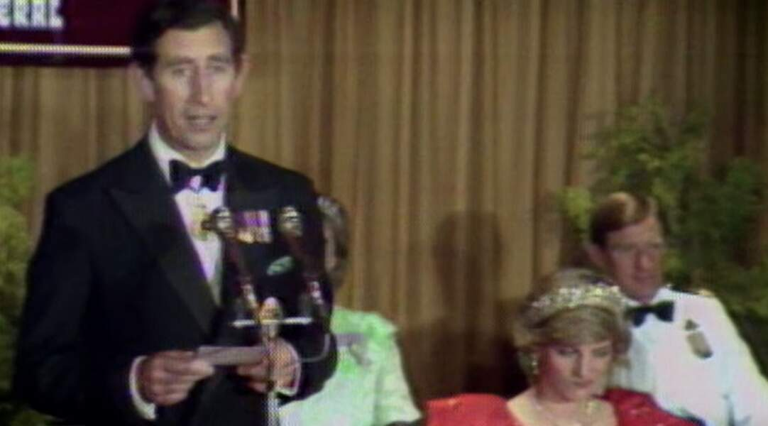 Diana fait une moue qui déclenche l'hilarité de l'assemblée lors d'un discours de Charles.