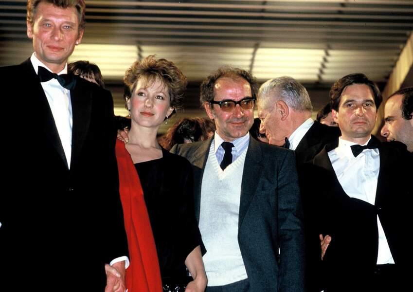 """Le retour du succès avec """"Détective"""" présenté à Cannes en 1985. Jean-Luc Godard avec ses comédiens Nathalie Baye, Jean-Pierre Léaud et Johnny Hallyday."""