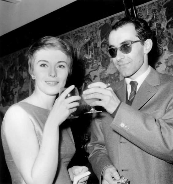 """""""A bout de souffle"""" est un triomphe  en Europe et aux Etats-Unis. Ici avec sa première muse, Jean Seberg, pour la sortie du film en mars 1960"""