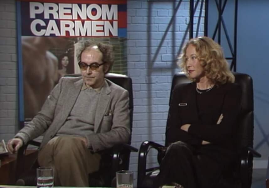 """Anne-Marie Miéville, photographe, rencontre Jean-Luc Godard en 1971 et deviendra sa compagne et collaboratrice. Ici pour le film """"Prénom Carmen"""" en 1983."""