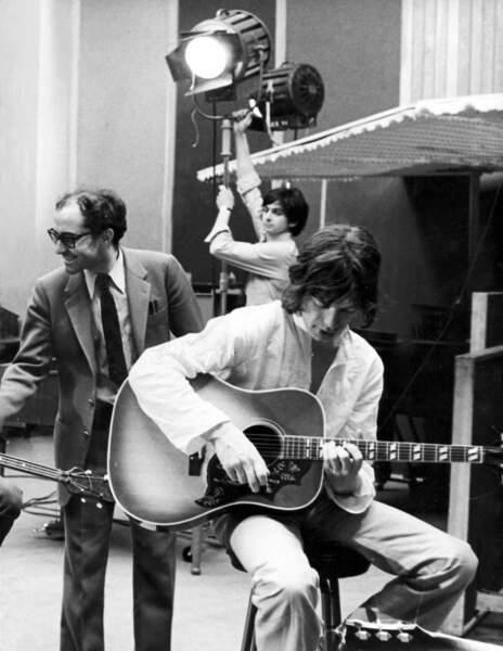 """Sur le tournage de """"One plus one"""" en 1968 avec Mick Jagger et les Rolling Stones."""
