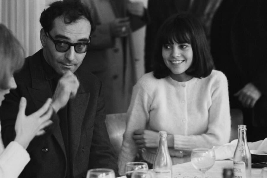 """Avant de devenir chanteuse, Chantal Goya voulait être actrice. Ici avec le découvreur de talents qu'était Godard pour """"Masculin féminin"""" en 1965."""