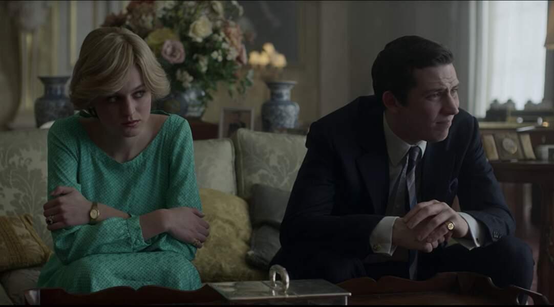Dans la série, le vert n'est pas synonyme de chance alors que c'est en robe verte que Diana, aux côtés de son époux Charles, se voit sermoner sur l'état de leur mariage.